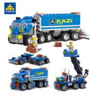 开智6409工程系列货车运输拼装积木 兼容乐高儿童益智DIY创意玩具