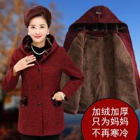 妈妈秋冬装毛呢外套短款40-50岁新款中年女呢子大衣加厚大码