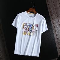 捌零折扣男装 柜子剪标T恤时尚印花青年百搭圆领打底衫半袖体恤衫