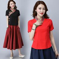中国风女装棉麻衬衫 夏装新款 民族风短袖改良中式旗袍唐装女上衣