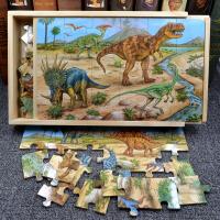 男孩木质拼图玩具恐龙小孩儿童女孩拼装3岁4-6-7-9岁益智智力开发