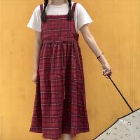 背带裙女夏学生韩版格子长裙bf宽松原宿港风连衣裙复古风裙子学院 均码