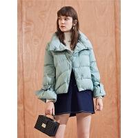 面包羽绒服女士2018冬季新款韩版宽松单排扣白鸭绒时尚轻薄短外套