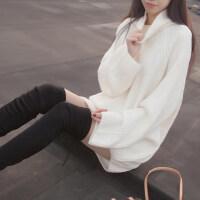秋冬新款女�b打底��衫套�^��松�n版潮流中�L款大袖子高�I毛衣