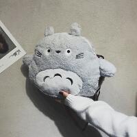 卡通毛绒大包包女龙猫玩偶暖手毛毛包2018新款可爱韩版单肩斜挎包 灰色
