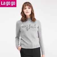 拉谷谷冬季新款女装毛衣长袖套头半高领秋冬打底针织衫上衣