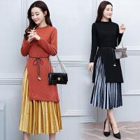 秋冬新款时尚针织连衣裙韩版大码女装收腰显瘦百褶半身裙两件套群