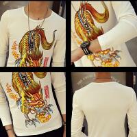 中国风春季长袖T恤刺绣纹图案印花男士打底衫加肥加大码潮男装