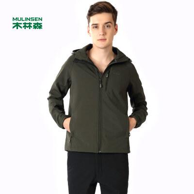 木林森男装 新款男士简约纯色连帽复合保暖上衣 防风运动青年时尚外套01361503