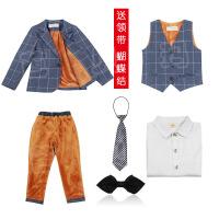 男童礼服英伦格子西服钢琴小西装儿童马甲三件套秋冬男孩花童套装
