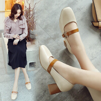 ZHR2018春季新款浅口单鞋韩版玛丽珍鞋粗跟休闲鞋奶奶鞋学生女鞋F83