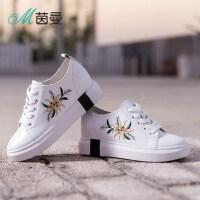 茵曼女鞋系带女单鞋坡跟百搭休闲鞋内增高厚底小白鞋4881030049
