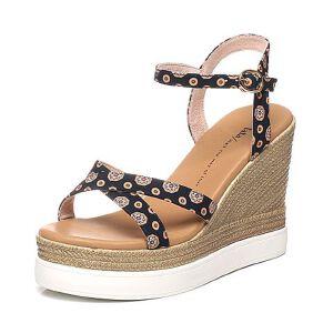 Tata/他她夏专柜同款印花布清新田园风坡跟女凉鞋2OXA1BL6