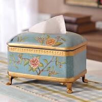 欧式田园复古纸巾盒 美式乡村家居陶瓷装饰品摆件餐巾抽纸盒
