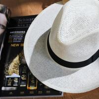 夏季草帽白色帽子平沿礼帽男爵士帽女英伦百搭遮阳夏天帽