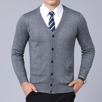 中老年男士羊毛衫V领长袖毛衣秋冬新款爸爸针织开衫男装外套上衣
