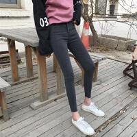 春装韩版女装水洗撕边修身弹力小脚铅笔裤显瘦休闲长裤高腰牛仔裤
