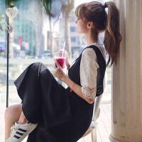 2018新款夏季新美学院风两件套蕾丝上衣+显瘦背带连衣裙