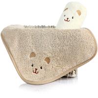 三利 有机棉婴幼儿口水巾2条装 A类安全标准 纯棉擦汗巾 带挂绳方巾 26×26cm