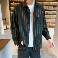 新款条纹长袖衬衫男潮流韩版帅气大码衬衣男式秋装寸衣外套