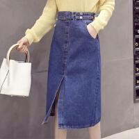 牛仔半身裙中长款2018新款高腰口袋修身包臀女夏a字裙开叉一步裙 蓝色