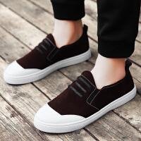 春季男鞋时尚休闲鞋男款韩版 简约潮流板鞋青少年学生 套脚帆布鞋子