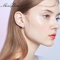 适合短发的耳环女气质百搭微镶几何耳钉仿珍珠耳饰品
