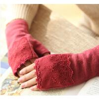 秋冬季保暖羊毛手套纯色优雅女士蕾丝露指半指