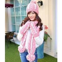 冬季天可爱韩版毛线帽子围巾手套三件套装女一体围脖 生日圣诞礼物