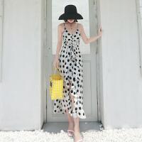 马尔代夫性感超仙白色波点连衣裙吊带显瘦泰国海边度假沙滩长裙女 白底黑点 S 适合95斤以内