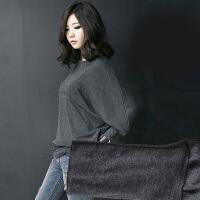 韩版大码女装显瘦打底衫女春胖mm装衣200斤纯色长袖t恤宽松蝙蝠袖