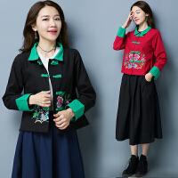 民族风女装秋装新款中式刺绣短款棉麻上衣长袖衬衫复古外套女