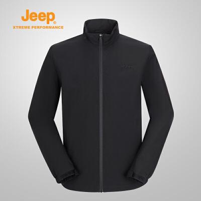 【特惠价】Jeep/吉普 男士户外开衫单穿休闲舒适运动薄夹克冲锋衣J832095097 YKK拉链反复拉合不卡顿 涤纶防泼水面料