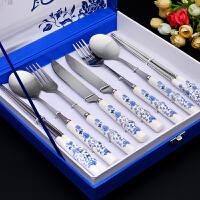 筷子勺子套装青花瓷餐具套装礼盒装家用勺叉不锈钢餐具三件套