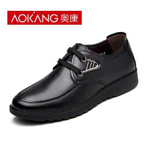 奥康男鞋 新款男士休闲鞋英伦商务休闲皮鞋男真皮透气 系带鞋子男