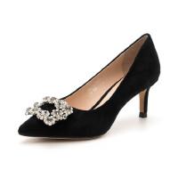 D:Fuse/迪芙斯女鞋 绒面羊皮革细跟尖头时尚单鞋DF73111057