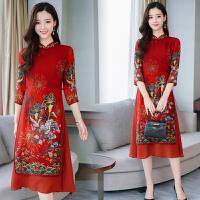 中国风改良旗袍连衣裙2018新款女装春装女中长款秋冬印花显瘦裙子 红色