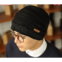男冬天韩版潮针织毛线帽 秋冬季男士 加绒保暖套头 款护耳包头帽