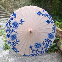 泸州油纸伞防雨防晒竹艺古典江南舞蹈演出cos装饰青花瓷 +加纱