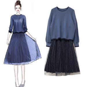 安妮纯时尚两件套女装春季超火ins女装套装2020秋冬韩版新款显瘦粗腰时髦连衣裙