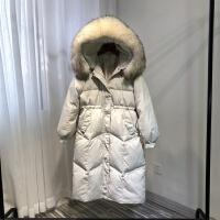 羽绒服女中长款修身显瘦2018冬新款韩版收腰连帽真毛领外套加厚潮