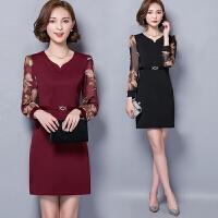 流行新款女装春装蕾丝连衣裙秋冬新款中长款长袖35岁到45