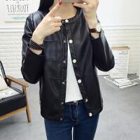 短款皮衣女PU皮外套女士春秋新款韩版棒球服皮夹克女长袖圆领上衣