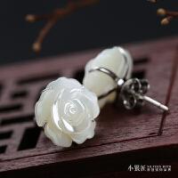 专柜手工雕玫瑰花 925纯银耳钉天然母贝耳环女简约时尚气质耳饰品 【纯银母贝玫瑰雕花】一对