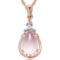 925银彩金项链女玫瑰金芙蓉石吊坠锁骨链银饰礼物情人节送女友