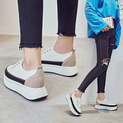 ZHR2018春季新款松糕底小白鞋内增高板鞋厚底休闲鞋单鞋平底女鞋B79