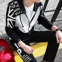 新款2018韩版修身男士运动套装开衫连帽休闲卫衣男外套春季跑步服