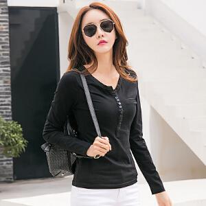 春季新款女装韩版修身百搭长袖女t恤上衣棉质纽扣打底体恤衫