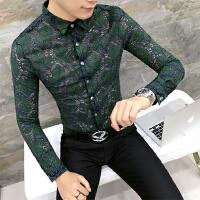 衬衫男长袖修身韩版s码蕾丝镂空帅气休闲衬衣 个性男士寸衫夜店潮
