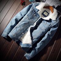 冬季加绒牛仔外套男修身加厚夹克仿羊羔毛青年棉衣秋男上衣潮